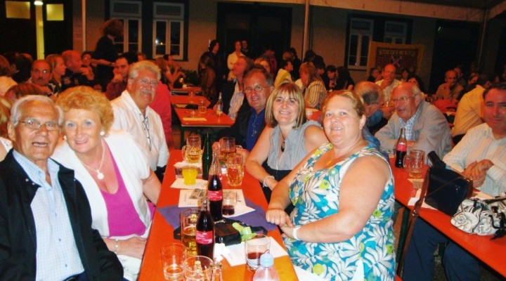 Joe, front, with Association friends enjoying Schottishe Nacht at Erbach Schloss.