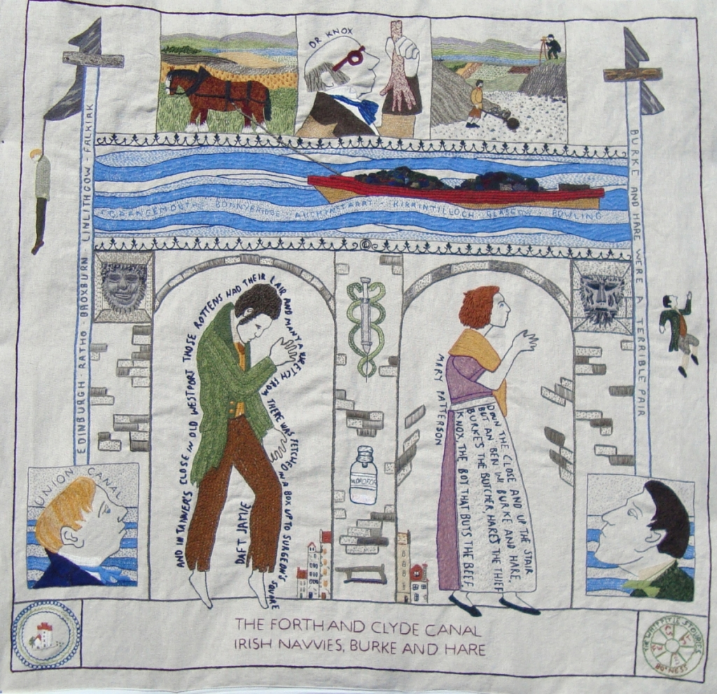 """This panel, measuring 1m x 1m, titled """"The Forth and Clyde Canal / Irish Navvies Burke and Hare"""" was completed by the ladies who called themselves """"The Whippitie Stouries"""". Thanks to Christine Simm for photo."""